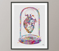 Heart Anatomy Collectible Watercolor Print Cardiology Decor Medical Art Print Science Art Print Glass Dome Wall Decor DoctorWall Hanging-165 - CocoMilla