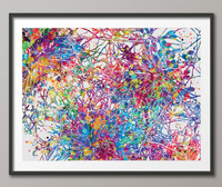 Neural Stem Cells Watercolor Print Abstract Art Medical Art Science Neurology Brain Psychiatry PSI Art Doctor Poster Neuron Synapses-1480 - CocoMilla