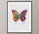 Butterfly Art Watercolor Print Butterflies Decorative Art Print Nursery Decor Gift Housewarming Gift Office Nature Decor Room Wall Art-1567 - CocoMilla