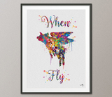 Flying Pig Quote Watercolor Art Print when pigs fly Wall Art Giclee Wall Decor Party Wall Hanging Geekery Nerd Art Wedding Gift Parody-766 - CocoMilla