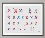 Female Chromosome Down Syndrome Watercolor Print Karyotype 21st Chromosome Medical Art Wall Art Nurse Gift Laboratory Science Genetic-384 - CocoMilla