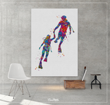 Scuba Diving Couple Watercolor Print Personalised Gift Coastal Wall Art Print Wall Art Diving Wedding Gift Valentine's Gift Wall Hanging-834 - CocoMilla