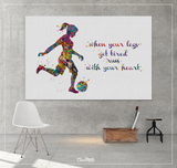 Soccer Girl Quote Watercolor Print Female Soccer Gift Woman Football Art Decor Girl Soccer Player Art run with your heart Girl Wall Art-1533 - CocoMilla
