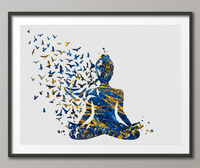 Yoga Art Woman and Birds Watercolor Print Free Mind Relaxation Studio Room Office House Nursery Decor Housewarming Gift Gold Wall Art-1479 - CocoMilla