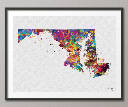 Watercolor Wedding Map Anniversary Map Maryland Watercolor Map Destination Map Print Honeymoon Map Personalized Watercolor Map