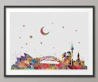 Sydney Australia Skyline illustrations Art Print Wall Wedding Gift Poster Giclee Wall Decor Art Home Decor Wall Hanging [NO 178] - CocoMilla