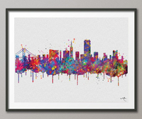 San Francisco Skyline Watercolor Print Wedding Gift Poster Travel Wall Decor Traveller Home Decor Wanderlust California Cityscape Print-378 - CocoMilla