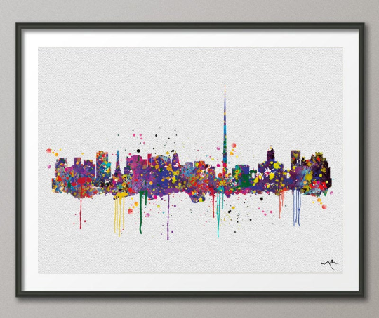 Dublin Skyline Ireland Eire Watercolor Art Print Wall Wedding Gift Poster Travel Art Decor Wall Decor Art Home Decor Wall Hanging [NO 647] - CocoMilla