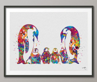 Penguin Family Four Baby Watercolor Art Print Wedding Gift Love Nursery Wall Decor Art Newborn quadruplet Baby Shower Gift Wall Art-479 - CocoMilla