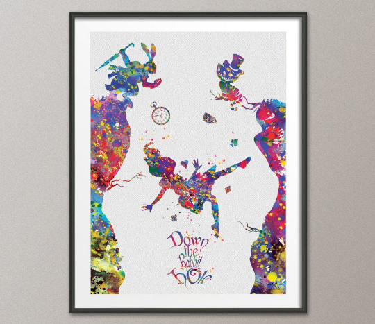 Alice down the rabbit hole 2 Alice in Wonderland Watercolor Print Nursery Wall Art for Kids Home Decor Wall Hanging Kids Wall Decor [NO 848] - CocoMilla