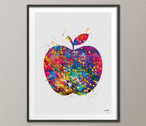 Apple Watercolor Print Fruit Art Kitchen Decor Wedding Gift Love Nursery Kitchen Wall Decor Home Decor Housewarming Gift Wall Hanging-1370 - CocoMilla