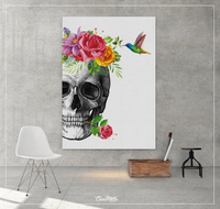 Skull Flowers and Bird Watercolor Print Medical Art Science Art Floral Anatomy with Neurology Human Skull Dental Tooth Skeleton Gift-1355 - CocoMilla