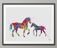 Horse Family Foal Watercolor Print Personelized Horse Lover Art Print Wall Decor Nursery Decor Horse Gift Art Home Decor Horse Wall Art-1378 - CocoMilla