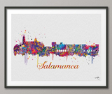 Salamanca Skyline Spain Watercolor Art Print Wall Wedding Gift Poster Travel Wall Decor Europe Art Geek Vacation Adventure Wall Hanging - CocoMilla