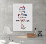 Wash your hands Quote Watercolor Print Praying Hand Wall Art Bathroom decor Funny Thanksgiving Nursery Thanks God Faith Thankful Gift-1413 - CocoMilla