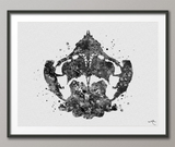 Rorschach Inkblot Test Card 8 BW Watercolor Print Psychology Psychiatry Psychotherapist Psychological Psychologist Clinic Medical Art-1321 - CocoMilla