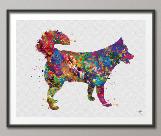 Siberian Husky Dog Watercolor Dog Print Dog Gift Pet Dog Love Puppy Friend Police Dog Animal Dog Poster Dog Art Wall Hanging Wall Decor-1553 - CocoMilla