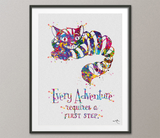 Cheshire Cat Adventure Quote Watercolor Print Alice in Wonderland Alice Print Nursery Kids Wall Art Nerd Home Decor Alice Wall Hanging-230 - CocoMilla