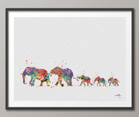 Elephant Family Mom Dad and Babys 3 Art Print Watercolor Painting Wedding Gift Wall Art Wall Decor Art Home Decor Wall Hanging [NO 299] - CocoMilla