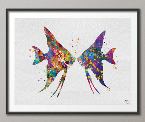 Angelfish Couple Watercolor Print Valentines Day Sea Life Decor Coastal Print Sea Love Tropical Fish Aquarium Decor For Kids Home Decor-625 - CocoMilla