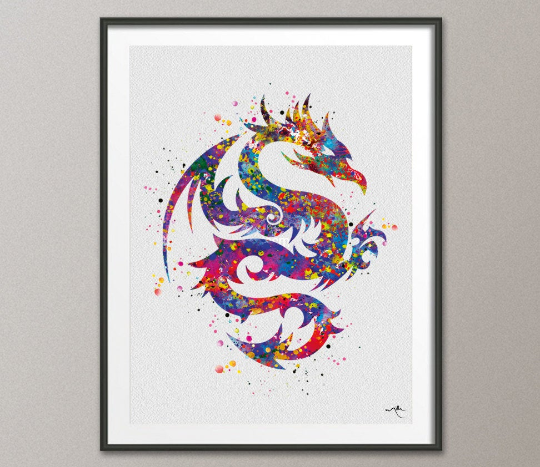 Dragon Tribal Design Watercolor Print Young Room Decor Poster Giclee Geekery Nerd Art Kung Fu Wall Decor Home Decor Wall Hanging [NO 460] - CocoMilla