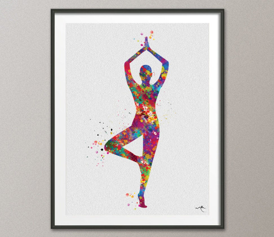 Yoga Art, Yoga Tree Pose, Yoga Poster, Yoga Pose, Yoga Print, Yoga Watercolor, Yoga Studio, Yoga Decor, Yoga Wall Decor, Yoga Gift, Yoga-879 - CocoMilla