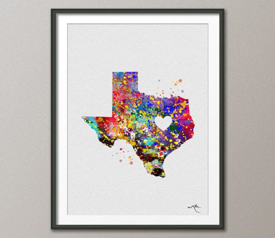 Texas State Watercolor USA Personalized Customizable Map Art Print Wall Wedding Gift Poster Giclee Home Decor Wall Hanging [NO 209] - CocoMilla