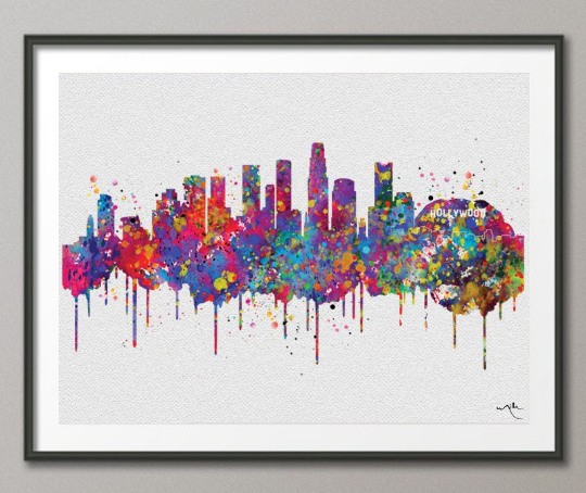 Los Angeles California Skyline Watercolor Art Print Wall Wedding Gift Holywood Wall Decor Art Home Decor Wall Hanging Traveller Art-369 - CocoMilla