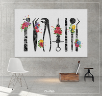 Dentist Tools Floral Watercolor Print Tooth Flowers Medical Art Surgeon Dental Clinic Decor Gift Dentistry Office Decor Graduaiton Gift-1340 - CocoMilla