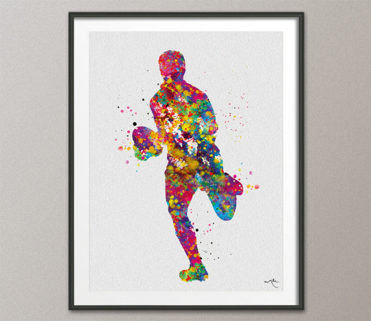 Rugby Player Art Watercolor Print Gift Man Boy Nursery Dorm Room Ball Poster Wall Art Wall Decor Run With Your Heart Sport Wall Art-1310 - CocoMilla