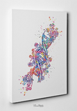 DNA Watercolor Print DNA Helix Molecule Structure Medical Wall Art Science Art Genetic Doctor Office Clinic Laboratory Biology Decor-1541 - CocoMilla