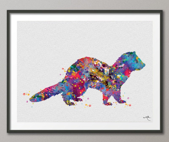 Ferret Watercolor Print Animal Wall Art Nursery Wall Art Domestic Animal Art Kids Room Decor Ferret Art Wall Hanging Baby Shower [NO 861] - CocoMilla