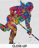 Ice Hockey Player Girl Watercolor Print Ice Skating Skater Female Woman Mom Wall Art Dorm Decor Hockey Team Coach Sports Wall Art Decor-1534 - CocoMilla