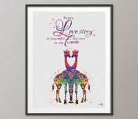 Giraffe Couple Watercolor Print Same Sex Wedding Gift Two Moms Gift Lesbian and Gay Gift LGBT Gay Pride Same Sex Love Lesbian Rainbow-1149 - CocoMilla