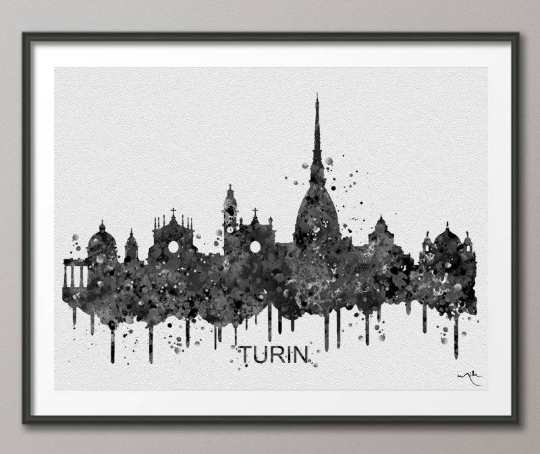Turin Skyline, Turin Italy, Turin Watercolor Print, Italy Print, Wedding Gift, Gothic Decor, Travel Gift, Tourism, Wall Hanging, Art-914 - CocoMilla