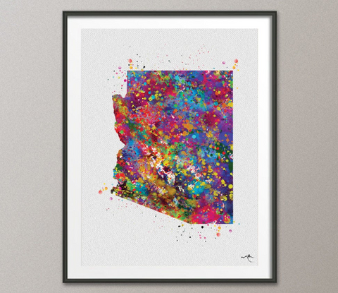 Arizona Map Watercolor Print Wall Art Arizona Poster Arizona Wedding Gift Travel Map Gift Office Decor Wall Decor Home Love Wall Hanging-222 - CocoMilla