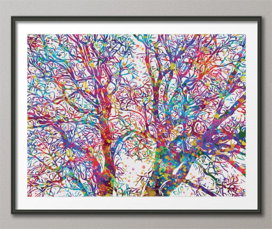 Tree Branch Watercolor Print Nature Tree Branches Forest Painting Housewarming Gift Office Wedding Gift Home Decor Wall Art Wall Hanging-400 - CocoMilla