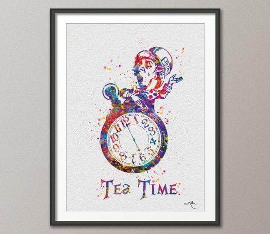 Tea Time Mad Hatter Alice in Wonderland Watercolor Painting Print Wall Art Wall Decor Nursery Kitchen Wall Hanging Christmas [NO 482] - CocoMilla