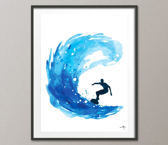 Surf Watercolor Print Painting Surfer Boy Painting Art Wall Art Giclee Wall Decor Summer Ocean Home Decor Nursery Wall Hanging [NO 680] - CocoMilla