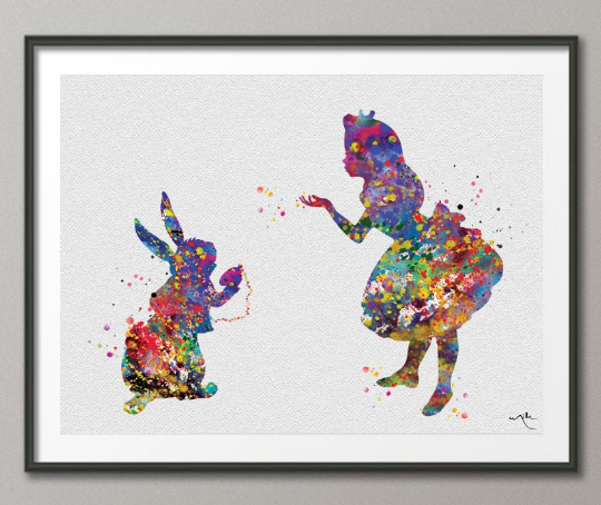 Alice and White Rabbit Alice in Wonderland Watercolor Print Princess Nursery Print Kids Wall Decor Girls Room Decor Children's Gift-157 - CocoMilla