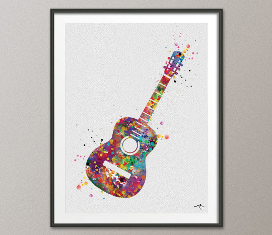 Acoustic Guitar Music Instrument Watercolor Print Classic Guitar Player Music Art Wall Decor Guitarist Gift Geekery Nerdy Wall Hanging-959 - CocoMilla