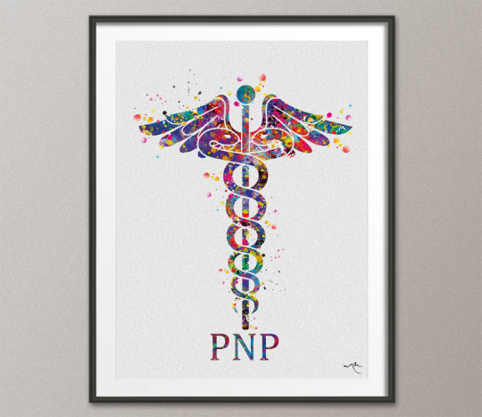 Caduceus Pediatric Nurse Practitioner PNP Watercolor Art Print Wall Art Nurse Gift Medical Art Gift for Doctor Home Decor Office Decor-15 - CocoMilla