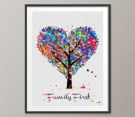 Heart Tree Family First Quote Watercolor Print Wedding Gift Wall Decor Art Nursery Art Decor Wall Hanging Love Christmas [NO 649] - CocoMilla