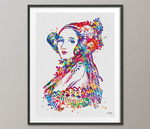 Ada Lovelace Watercolor Print Mathematician Programming Pioneer Computer Science Technology Art Nerdy Gift Student Gift -1494 - CocoMilla