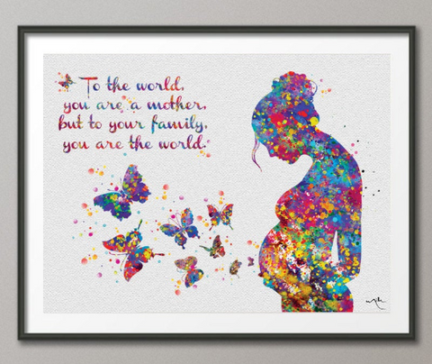 Pregnant Woman Quote Watercolor Print Pregnancy Mom Gift Butterfly Obstetrician Nursing Baby Shower New Mum Art Mother Gift Midwife Gift-343 - CocoMilla