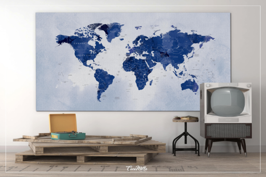 World Map Push Pin Large world map Decorative Push Pins Canvas Blue World Map Travel Gift Wedding Gift Worldmap poster Honeymoon Gift-1217 - CocoMilla