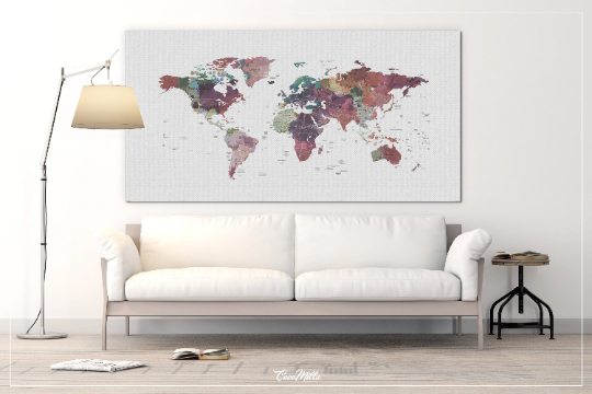 World Map Push Pin, Large world map, Decorative Push Pins, Abstract World Map, Travel Gift, Wall Decor, Worldmap poster, Pastel World Map-54 - CocoMilla