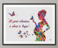 Pregnant Woman Quote Great Adventure Watercolor Print Pregnancy Flowers Obstetrician Nursing Baby Shower New Mum Art Gift OBGYN Gift-1350 - CocoMilla