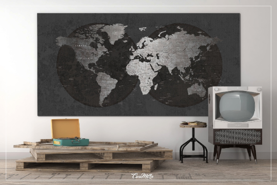 World Map CANVAS Print Extra Large World Art Push Pin Travel Map Rustic Gray World Map Antiques Map Art Wanderlust Pushpin Trawel Map-309 Active Restock requests: 0 - CocoMilla