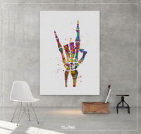 Rock And Roll Skeleton Hand Watercolor Print Music Wall Art Poster Geek Party Rock Hand Sign Rocknroll Wall Art Home Decor Wall Hanging-1243 - CocoMilla